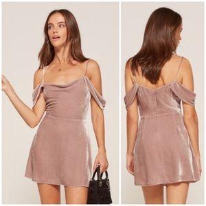 Reformation Lorraine Velvet Silk Dress